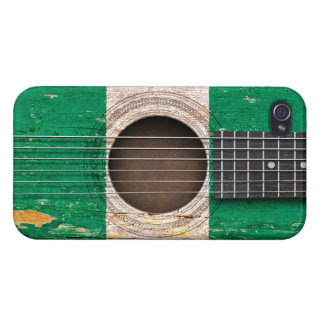 Nigerian Flag on Old Acoustic Guitar iPhone 4 Case