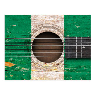 Nigerian Flag on Old Acoustic Guitar Postcard