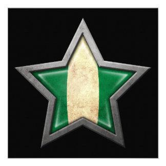 Nigerian Flag Star on Black Invitations