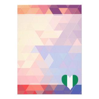 Nigerian Flag Star On Colorful Bokeh 13 Cm X 18 Cm Invitation Card
