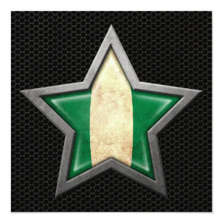 Nigerian Flag Star with Steel Mesh Effect Personalized Announcement
