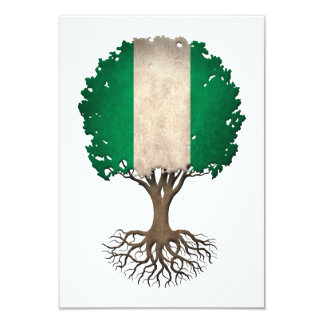 Nigerian Flag Tree of Life Customizable 3.5x5 Paper Invitation Card