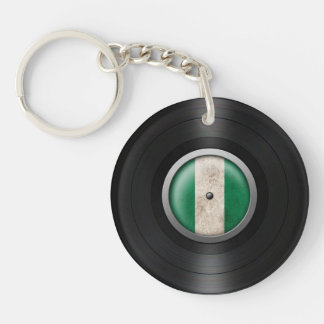 Nigerian Flag Vinyl Record Album Graphic Double-Sided Round Acrylic Key Ring