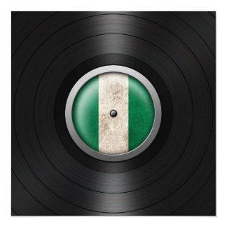 Nigerian Flag Vinyl Record Album Graphic 5.25x5.25 Square Paper Invitation Card