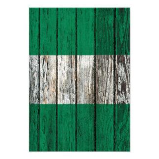 Nigerian Flag with Rough Wood Grain Effect Custom Invite
