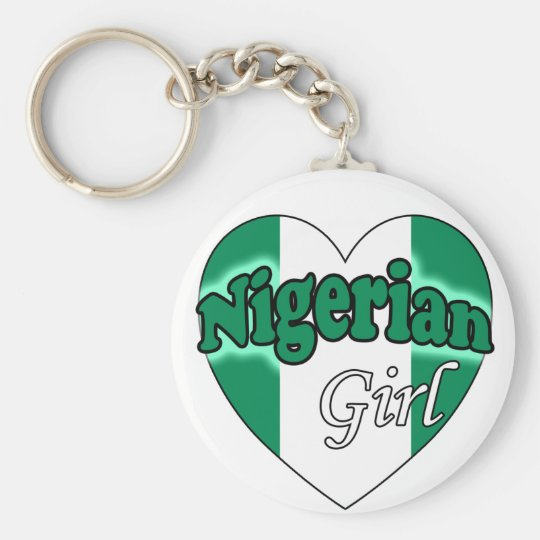 Nigerian Girl Basic Round Button Key Ring