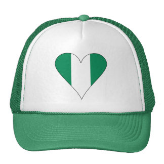 Nigerian Heart Flag Funky Black Border Cap