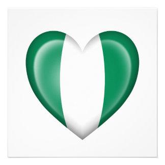 Nigerian Heart Flag on White Custom Announcements