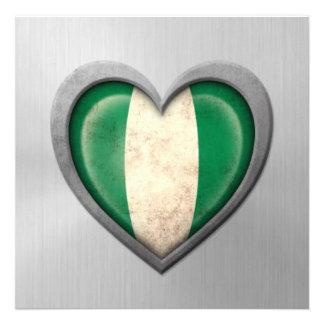 Nigerian Heart Flag Stainless Steel Effect Custom Invitations