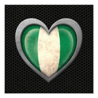 Nigerian Heart Flag Steel Mesh Effect Custom Announcements