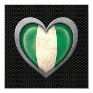 Nigerian Heart Flag Steel Mesh Effect 13 Cm X 13 Cm Square Invitation Card