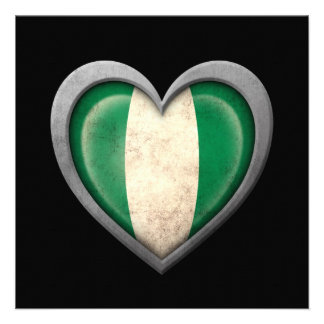 Nigerian Heart Flag with Metal Effect Announcements