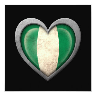 Nigerian Heart Flag with Metal Effect 13 Cm X 13 Cm Square Invitation Card