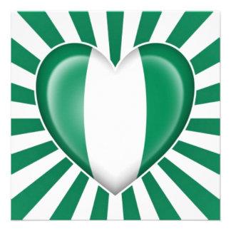 Nigerian Heart Flag with Star Burst Invite