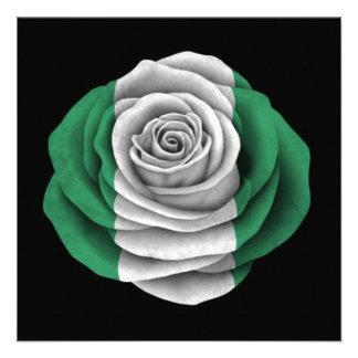 Nigerian Rose Flag on Black Personalized Invite