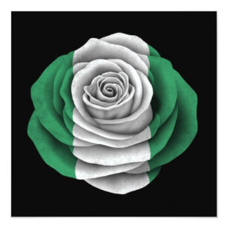 Nigerian Rose Flag on Black Personalized Invite