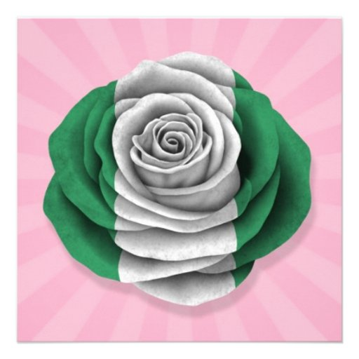Nigerian Rose Flag on Pink Personalized Announcements