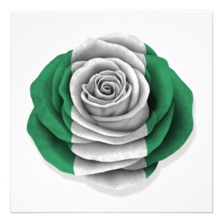 Nigerian Rose Flag on White Invite