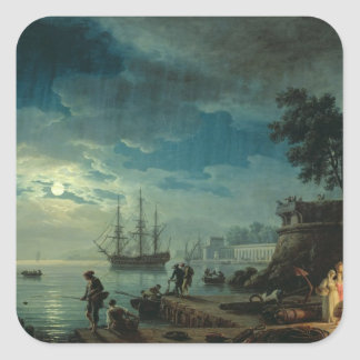 Night: A Port in the Moonlight, 1748 Square Sticker