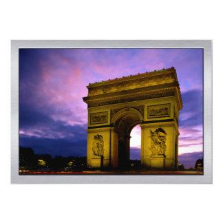 Night at  Arc de Triomphe Paris France 13 Cm X 18 Cm Invitation Card