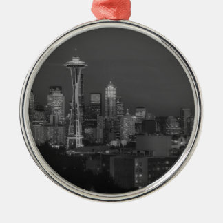 Night at the seattle Silver-Colored round decoration