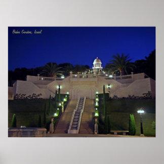 Night Bahai Gardens Poster