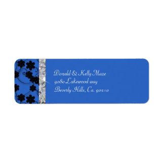Night Blue & Black Flowers Diamond Shimmer Wedding