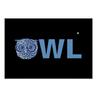 night blue owl word poster