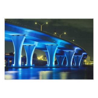 Night bridge at Port of Miami, Florida Photo Print