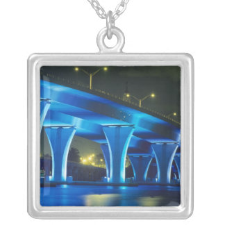 Night bridge at Port of Miami, Florida Silver Plated Necklace