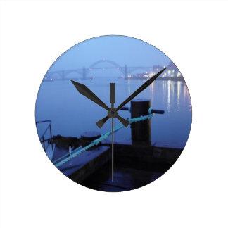 Night Bridge Round Clock