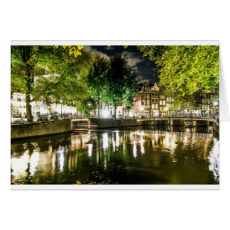 night canal in Amsterdam, Netherlands Card
