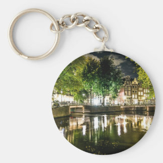 night canal in Amsterdam, Netherlands Key Ring