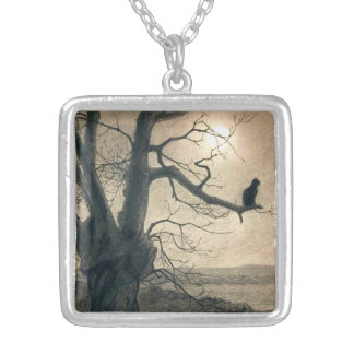 Night Cat in Tree Necklace