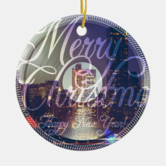 Night city ON the record player Christmas Ornament