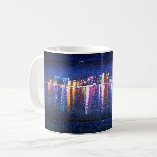 Night City Skyline, oil painting of Qatar Coffee
