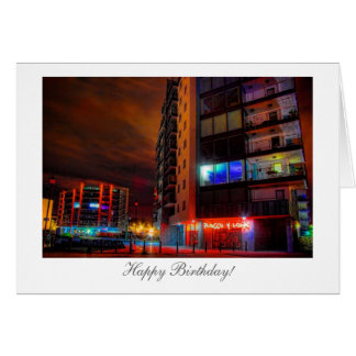 Night Cityscape - Happy Birthday Greeting Card