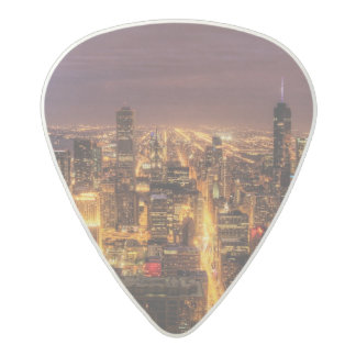 Night cityscape of Chicago Acetal Guitar Pick