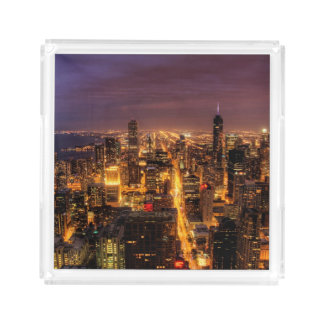 Night cityscape of Chicago Acrylic Tray