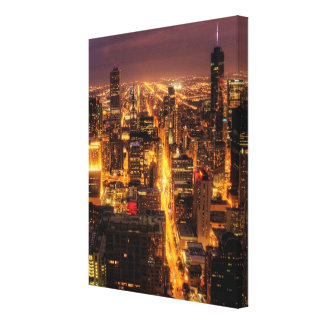 Night cityscape of Chicago Canvas Print
