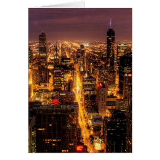 Night cityscape of Chicago Card