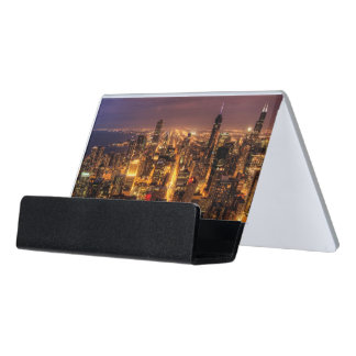 Night cityscape of Chicago Desk Business Card Holder