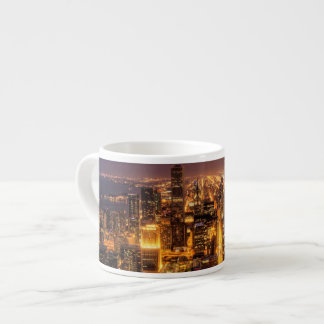 Night cityscape of Chicago Espresso Cup