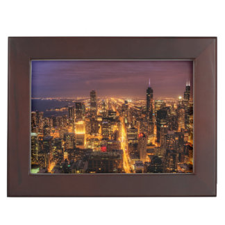 Night cityscape of Chicago Keepsake Box