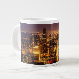Night cityscape of Chicago Large Coffee Mug