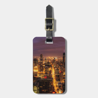 Night cityscape of Chicago Luggage Tag