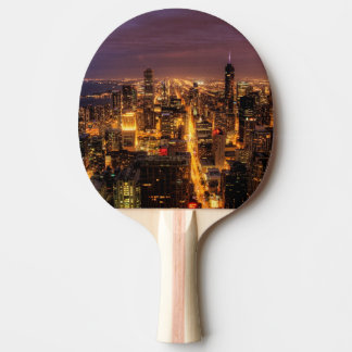 Night cityscape of Chicago Ping Pong Paddle