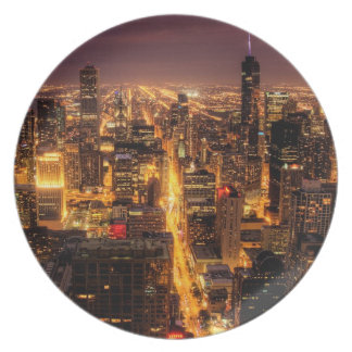Night cityscape of Chicago Plate