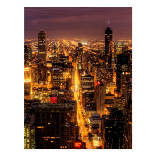 Night cityscape of Chicago Postcard