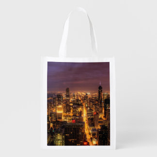 Night cityscape of Chicago Reusable Grocery Bag